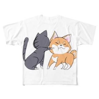 しばねこネコパンチ Full graphic T-shirts