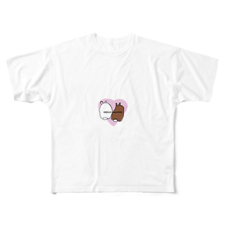 ぷぐのシェリーとピノのケツ ピンクver. Full graphic T-shirts