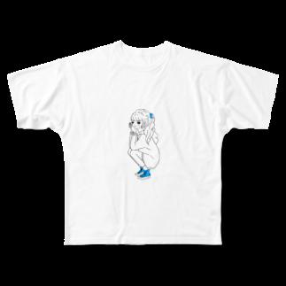 ao-kuronekoの女の子 Full graphic T-shirts