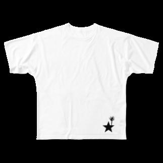 yosimusiのブラックスター 004(Blackstar 004)with アロエ・ディコトマ(aloe dichotomal) Full graphic T-shirts