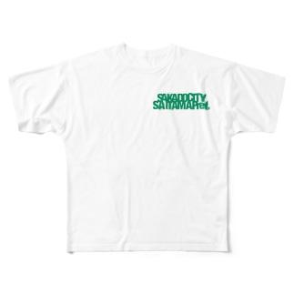 某地方都市Tシャツ緑 Full graphic T-shirts