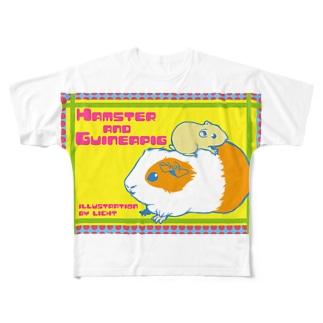 ハムスターとモルモット Full graphic T-shirts