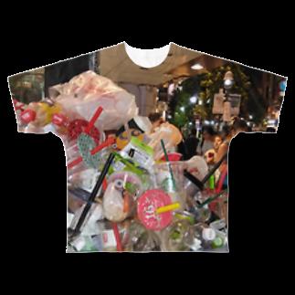 SZUKIの渋谷のゴミ Full graphic T-shirts