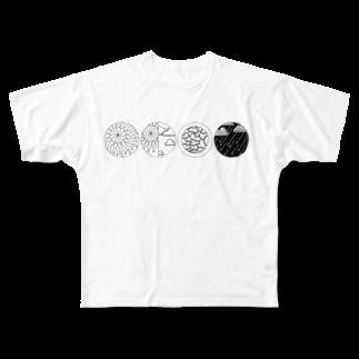 MOGU_RAの天気記号(晴天・晴れ・曇り・雨) Full graphic T-shirts