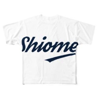 シオメ ストリートロゴ 濃紺 Full graphic T-shirts
