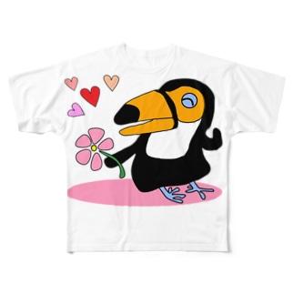 ブラジル国鳥トゥッカーノ フルグラフィックTシャツ