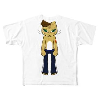 HumanCat<タトゥー>(透過ver.) Full graphic T-shirts