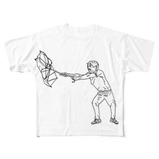 ビニール傘が飛ばされそうな人 Full graphic T-shirts