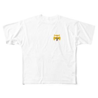 ちょっと鬼ヶ島に(柴犬くん) Full graphic T-shirts