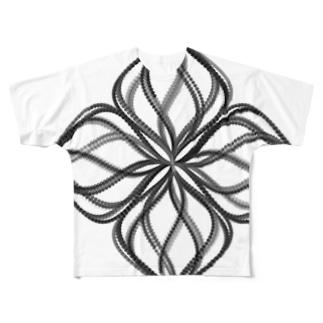 Parametric Curves01(Black) フルグラフィックTシャツ