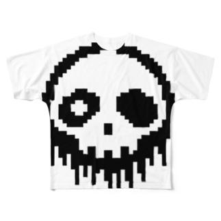 ドット絵ドクロ Full graphic T-shirts