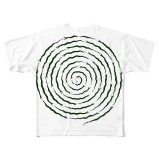 ぐるぐるヘビ Full graphic T-shirts