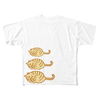 ゴロゴロとらねこ親子 フルグラフィックTシャツ