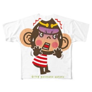 """ドングリ頭のチンパンジー""""ビックリ"""" Full graphic T-shirts"""