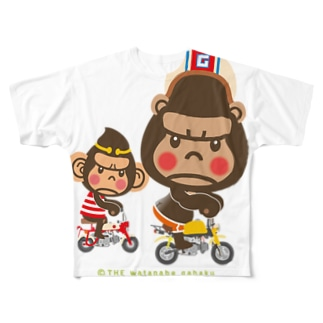 "ぽっこりゴリラ""Motor cycle -  gorilla & monkey"" Full graphic T-shirts"
