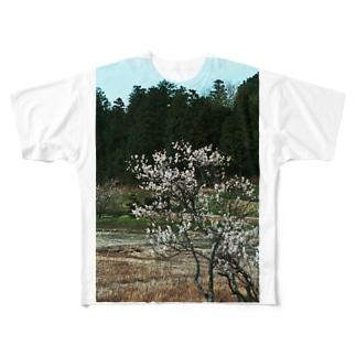 梅 ウメ Japanese apricot DATA_P_102 春 spring Full graphic T-shirts
