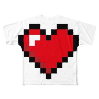 ドット絵ハート Full graphic T-shirts
