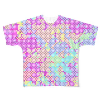 Polka Dots Camouflage(Colorful) フルグラフィックTシャツ