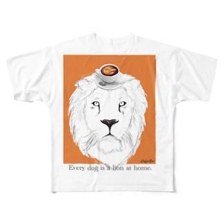 ライオン オレンジ フルグラフィックTシャツ