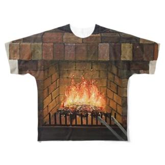 暖炉 フルグラフィックTシャツ