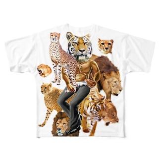 猛獣プリント フルグラフィックTシャツ