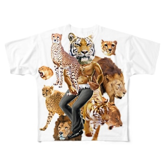 猛獣プリント Full graphic T-shirts