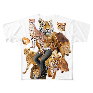AC部の猛獣プリントフルグラフィックTシャツ