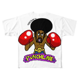 ブラックボクサーのパンチライン Full graphic T-shirts