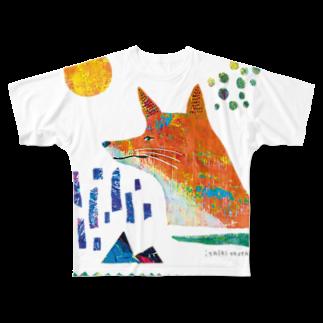 伊敷トゥートのどんどこキツネフルグラフィックTシャツ