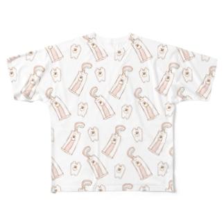 ぶちゃくま。toothホワイト Full graphic T-shirts