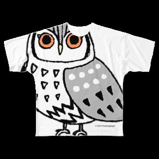 ROCK 'N' ROLL TIGER ロックンロール タイガーのアフリカオオコノハズク Full graphic T-shirts