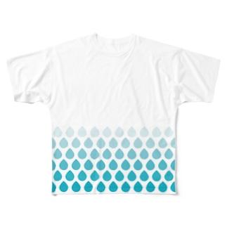 涙滴ウロコ Full graphic T-shirts