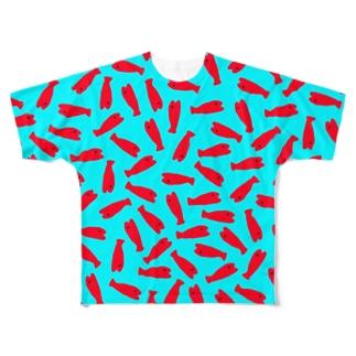 お魚入水(紅) Full graphic T-shirts