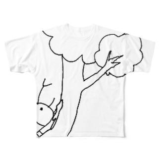 樹液じゅるじゅるカブトムシ Full graphic T-shirts