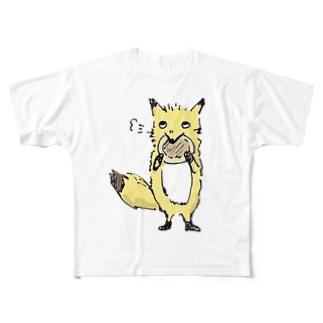 きつねさんシリーズ-パンケーキ食べる フルグラフィックTシャツ
