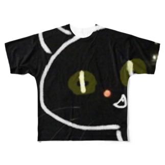 暗闇からひょっこり猫 Full graphic T-shirts