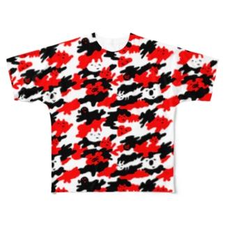 よく見るとうさぎ Full graphic T-shirts