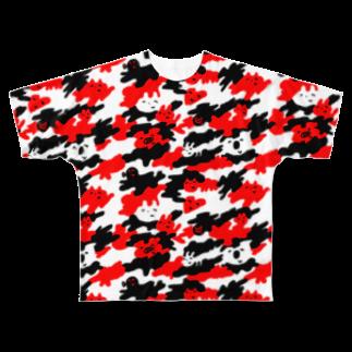 ワタナベスグルのよく見るとうさぎ Full graphic T-shirts