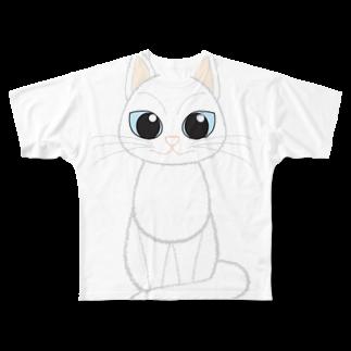 Tar-zansuの白猫フルグラフィックTシャツ