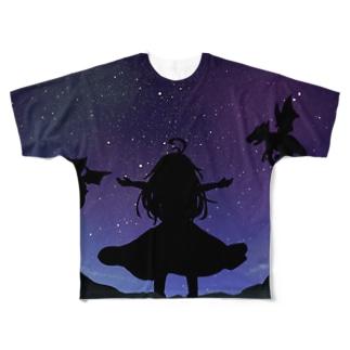夜空と少女とドラゴン Full graphic T-shirts