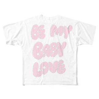 鬼可愛英文字のBe My Baby Full graphic T-shirts