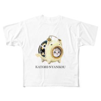 萌獣 猫 かとりにゃんこう:こいのぼり Full graphic T-shirts