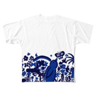 お花畑青バージョン フルグラフィックTシャツ