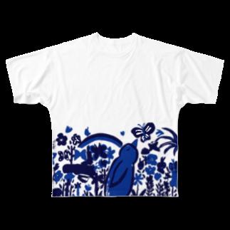 ツルマルデザインのお花畑青バージョン Full graphic T-shirts