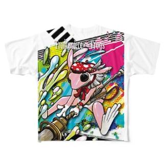 画家エリミミガエル(ピンク3) フルグラフィックTシャツ
