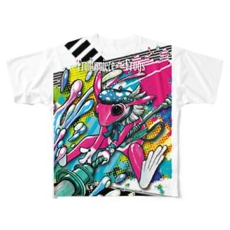 画家エリミミガエル(ショッキングピンク3) Full graphic T-shirts