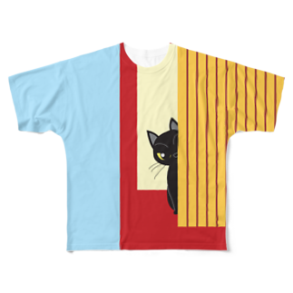 Tar-zansuのチラッと黒猫フルグラフィックTシャツ