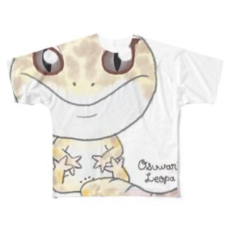 おすわりレオパ(アルビノ系) フルグラフィックTシャツ