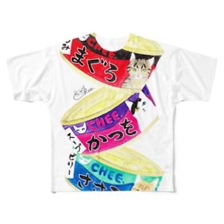 猫缶3個パック フルグラフィックTシャツ
