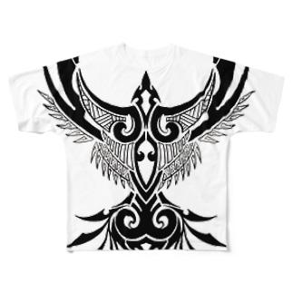 鳥のトライバル((ε( ° Θ ° )з)) フルグラフィックTシャツ